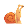 Funny pensive snail, cute comic mollusk character cartoon vector Illustration