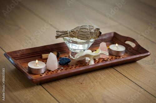 Smoking sage ritual objects - 186835083