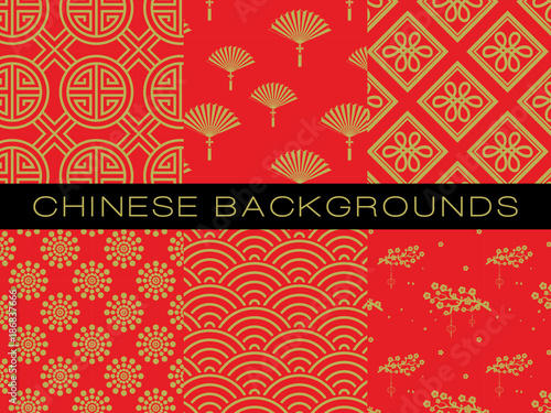 Chinese pattern set with traditional designs. © jennylipmic