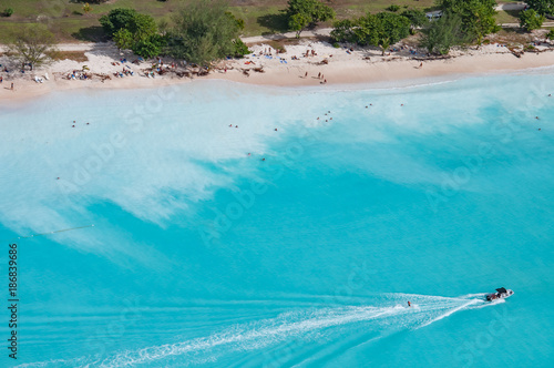 Foto op Aluminium Tropical strand Wonderful beach in Antigua, a Caribbean island, helicopter view