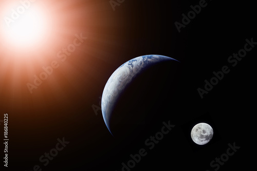 Foto op Aluminium Nasa Landscape image of Sun, Earth and moon view from space. (Elements of this image furnished by NASA)