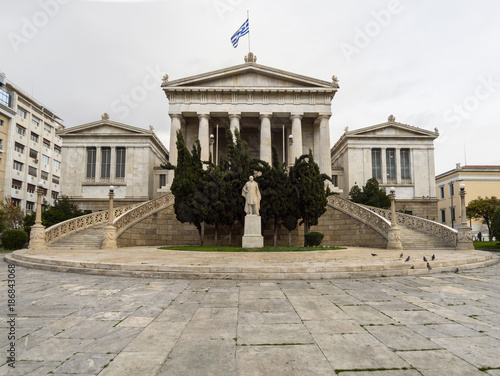 Poster Athene Steps and building with beautiful architecture of the National Library of Greece