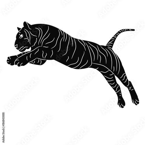 wektor, izolowane sylwetka tygrysa skoki