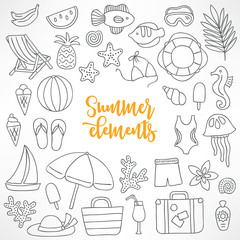 Set of hand drawn summer design elements