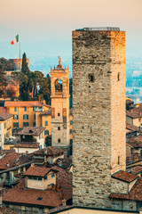 Bergamo Alta old town at sunset - Gombito tower - Lombardy Italy