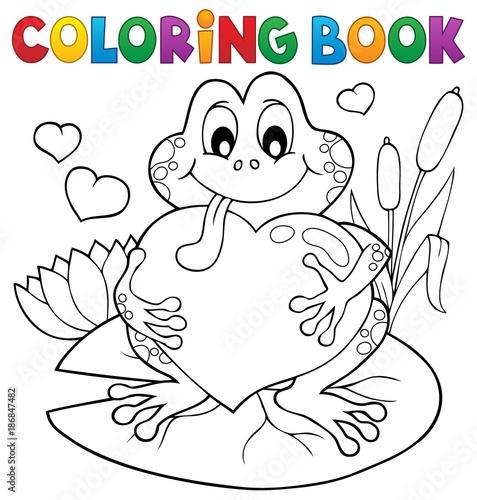 Deurstickers Voor kinderen Coloring book Valentine frog