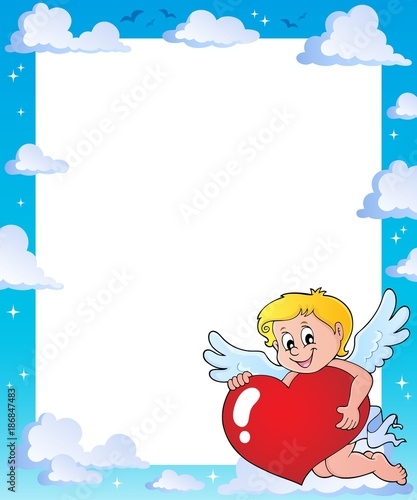 Poster Voor kinderen Cupid holding stylized heart frame 1