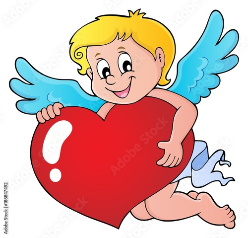 Poster Voor kinderen Cupid holding stylized heart image 1