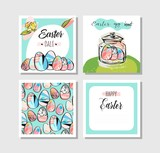Set of Vector Happy Easter Label Elements. Vintage Holiday Badges. Vector Templates for Greeting Card - 186850437