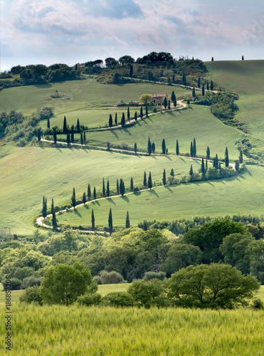 Deurstickers Toscane Curving road in Tuscany