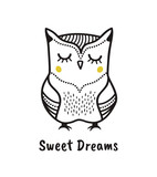 Cute hand drawn owl with quote. Sweet dreams. Print for poster, t-shirt or bags - 186853426