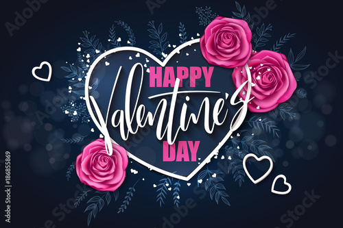 vector valentine's day grettings lettering with doodle branches, hearts, roses. Design for greeting card or poster