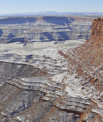 Muley Point Overlook to Monument Valley in winter