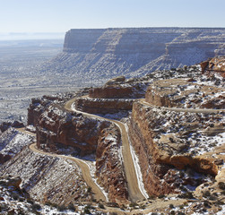 State Route 261 Utah - Moki Dugway. Winter landscape.