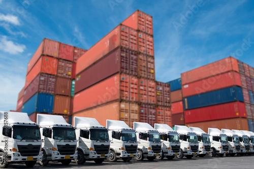 New truck fleet in container depot for logistics service.