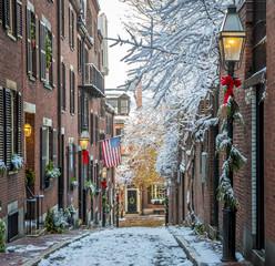 The historic streets of Boston in Massachusetts, USA in the winter season.