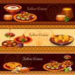 Indian cuisine traditional food banner set