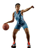 one african Basketball players woman teenager girl isolated on white background with shadows - 186876491