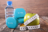 apple,water and dumbbell