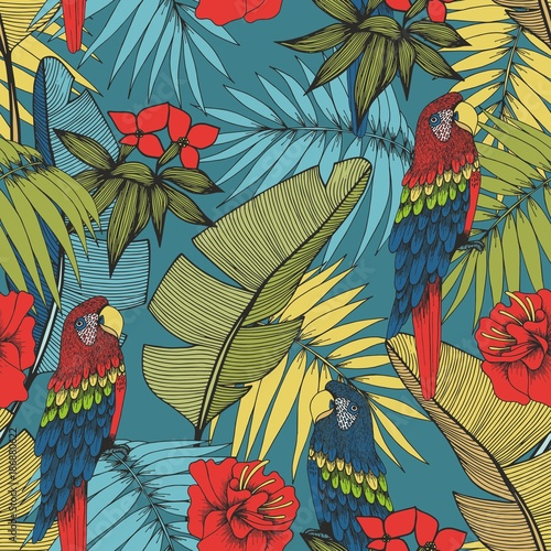 Tropical plants and parrots. Vector seamless pattern for design - 186880622