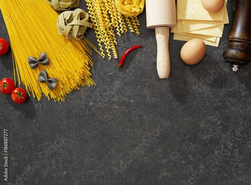 Foto Murales Pasta and ingredients