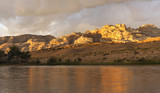 Panorama of the Eroded Mountains and Green River of Dinosaur National Monument at Sunset
