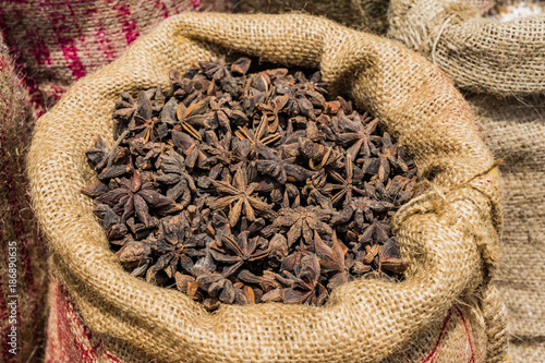 Bag of Chinese Star Anise background at market