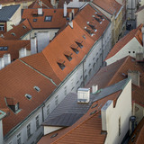 High angle view of building rooftops at Old Town Square, Old Town, Prague, Czech Republic - 186891624