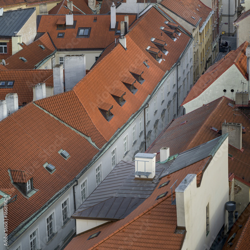 High angle view of building rooftops at Old Town Square, Old Town, Prague, Czech Poster