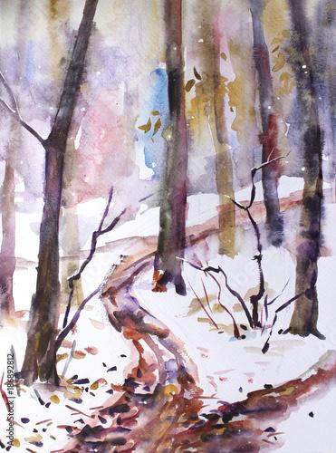 akwarela-krajobraz-w-lesie-pierwszy-snieg