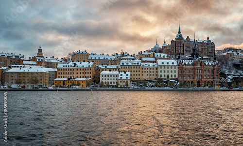 Fotobehang Stockholm Stockholm city on a winter afternoon.