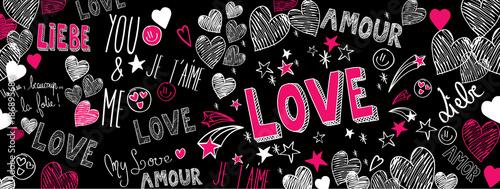 Miłość doodles tło