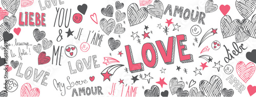 Staande foto Graffiti Love doodles background