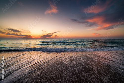 Keuken foto achterwand Zee zonsondergang Sunrise at Tunisia coast.