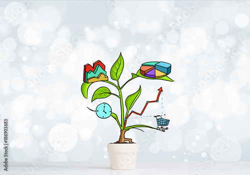 Foto Murales Drawn income tree in white pot for business investment savings and making money