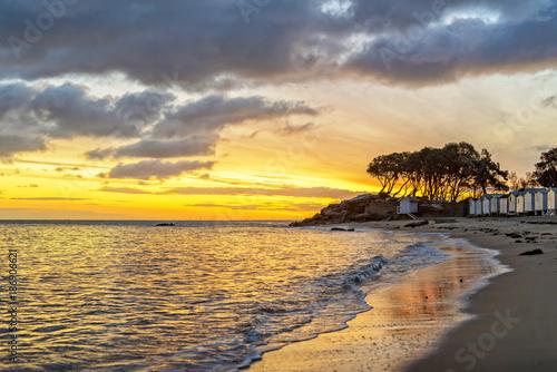 Keuken foto achterwand Zee zonsondergang levant cuivré plage des DAmes Noirmoutier