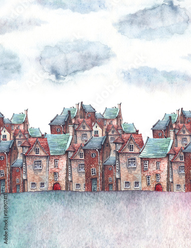 Hand painted watercolor illustration of a little town under the clouds. Children book illustration or a greeting card. - 186907413