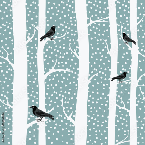 fototapeta na ścianę Black crows on the winter trees. Snowing. Seamless pattern. Vector illustration on grey background