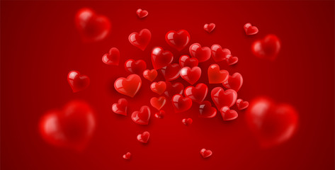 Love background with red scattering hearts particles, shallow