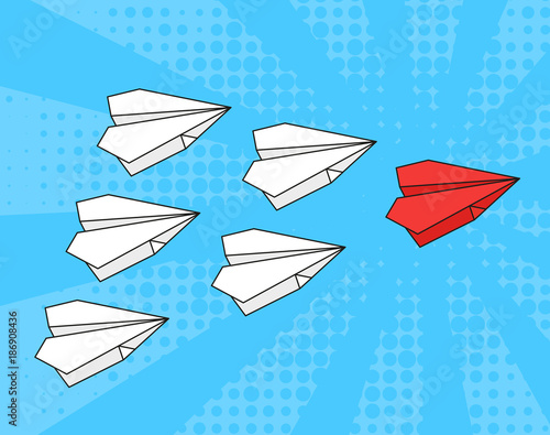 Fotobehang Pop Art Concept of leadership. business strategy. Red paper airplane with white paper airplanes behind in blue sky. Pop art style.