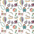 Vector illustration of various toys on white background. Seamless pattern - 186909211