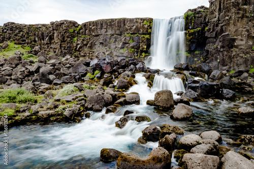 Fotobehang Wit Öxarárfoss waterfall