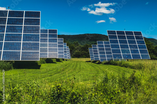 Rows of solar panels.