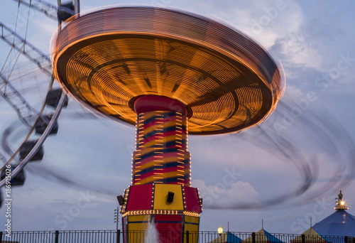 Navy Pier rides illuminated at sunset, Chicago, IL, USA on the 4th August, 2017