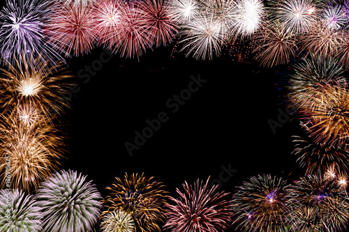 colourful fireworks frame with space in the middle