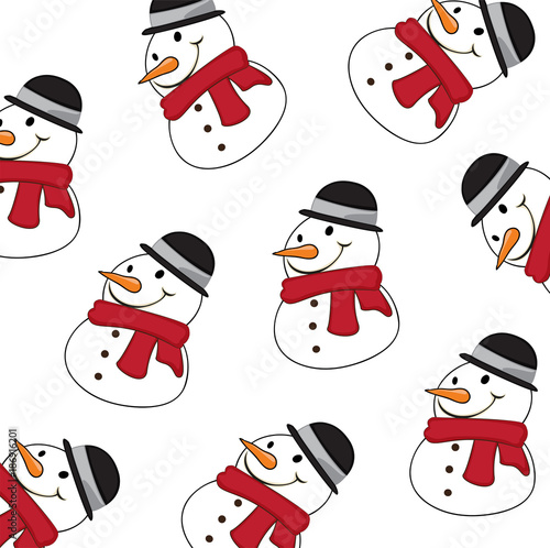 Winter pattern with Snowman