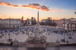 Rome (Italy) - The historic center of Rome. Here in particular the Piazza del Popolo square at sunset, from Terrazza del Pincio
