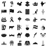Europe icons set, simple style