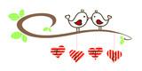 Valentine Loving Birds stay on branch retro - 186924896