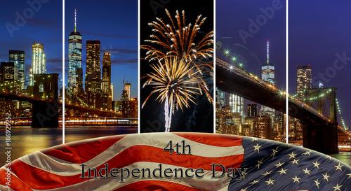 Fotobehang Brooklyn Bridge American flag flying the a Skyline New York City manhattan buildings skyline evening taken